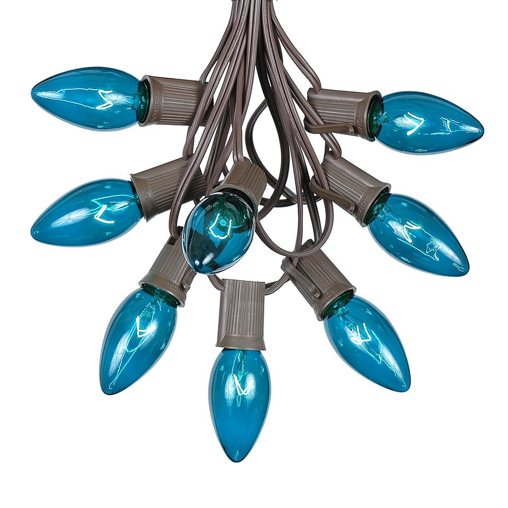 Picture of C9 25 Light String Set with Teal Bulbs on Brown Wire