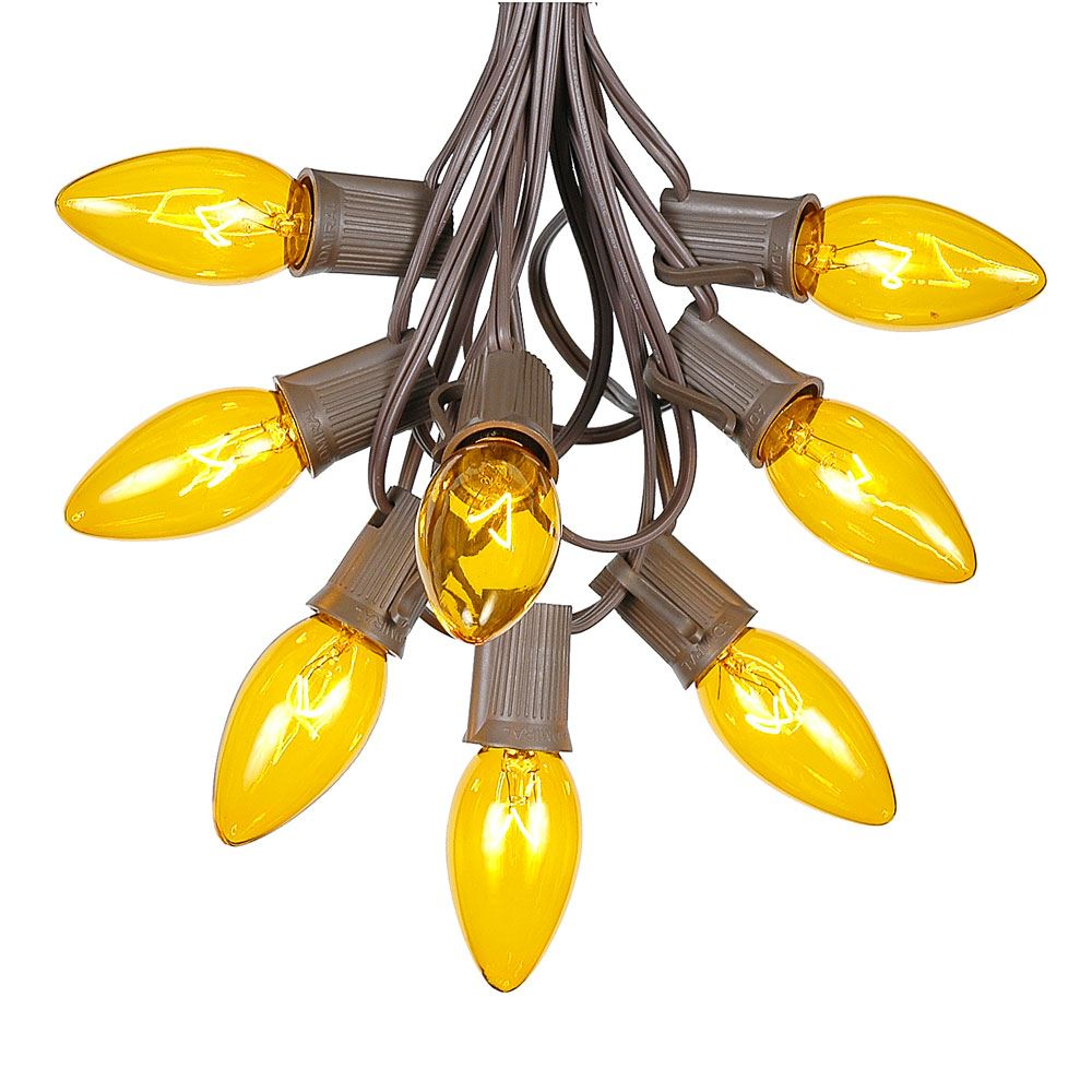 Picture of C9 25 Light String Set with Yellow Bulbs on Brown Wire