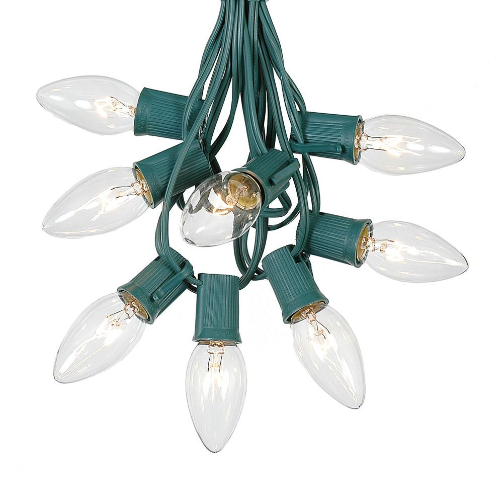 Picture of C9 25 Light String Set with Clear Bulbs on Green Wire