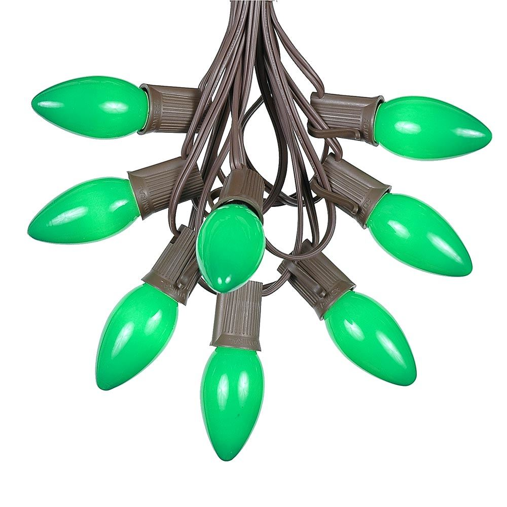 Picture of C9 25 Light String Set with Ceramic Green Bulbs on Brown Wire