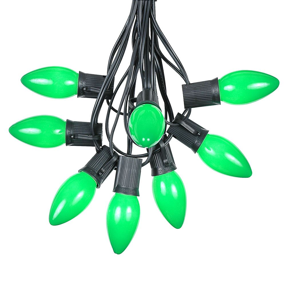 Picture of C9 25 Light String Set with Ceramic Green Bulbs on Black Wire