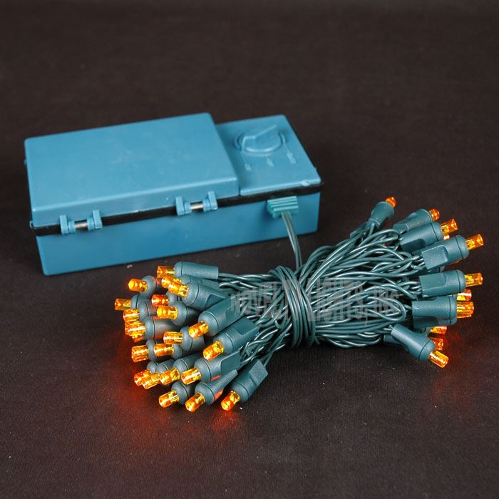 Picture of 50 LED Battery Operated Lights Amber on Green Wire