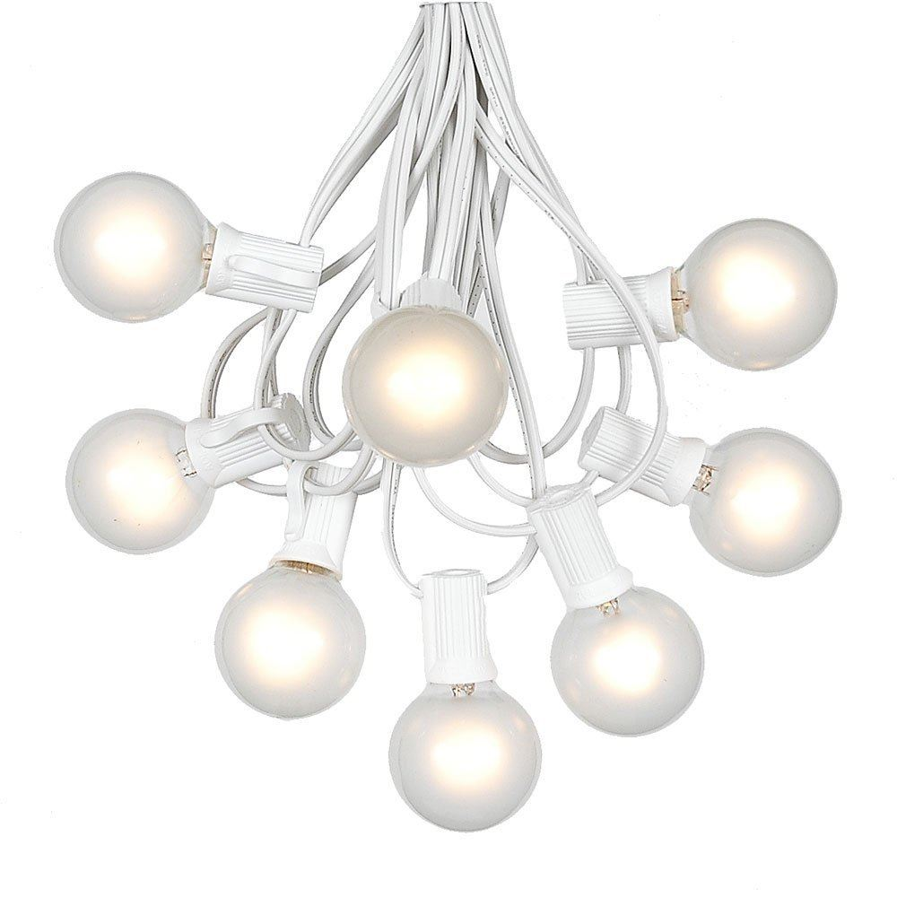 Picture of 100 G40 Globe String Light Set with Frosted White Bulbs on White Wire