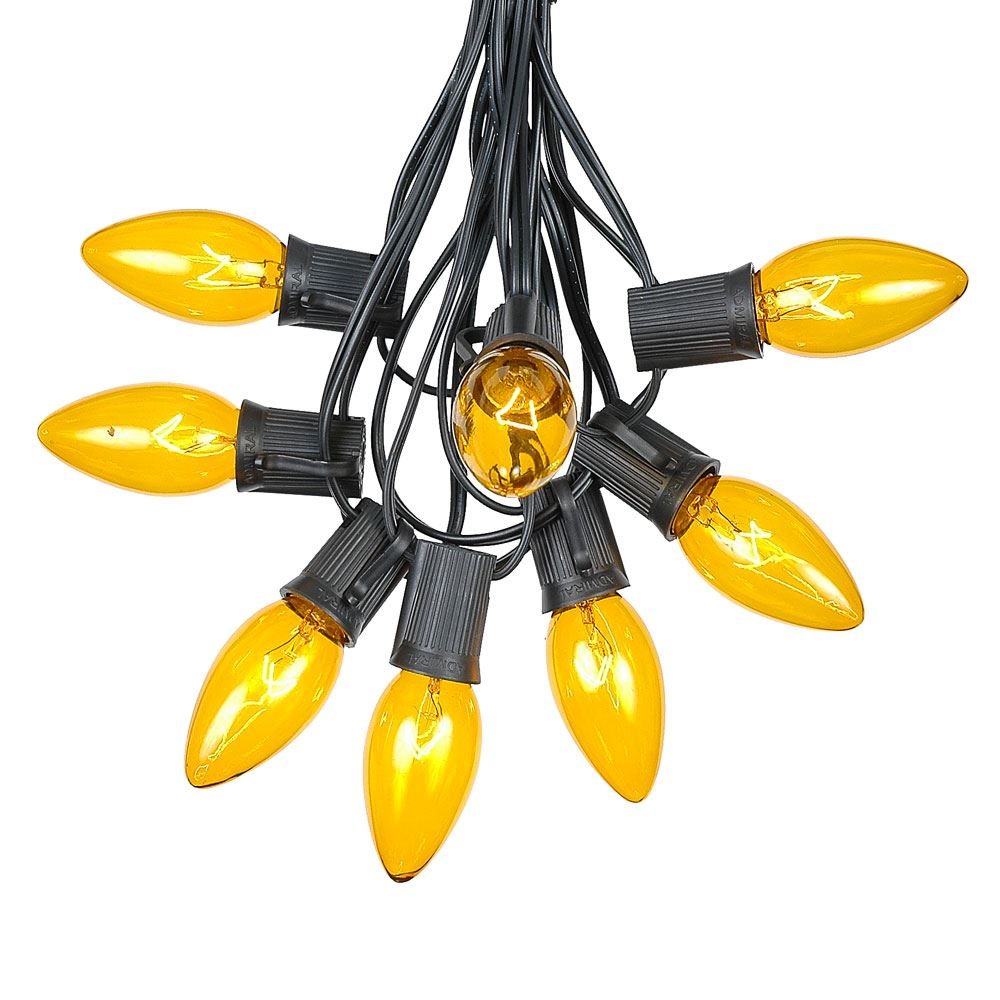 Picture of 100 C9 Christmas Light Set - Yellow Bulbs - Black Wire