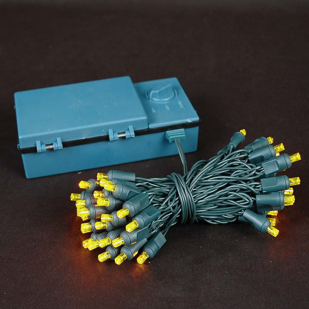 Picture of 50 LED Battery Operated Lights Yellow on Green Wire