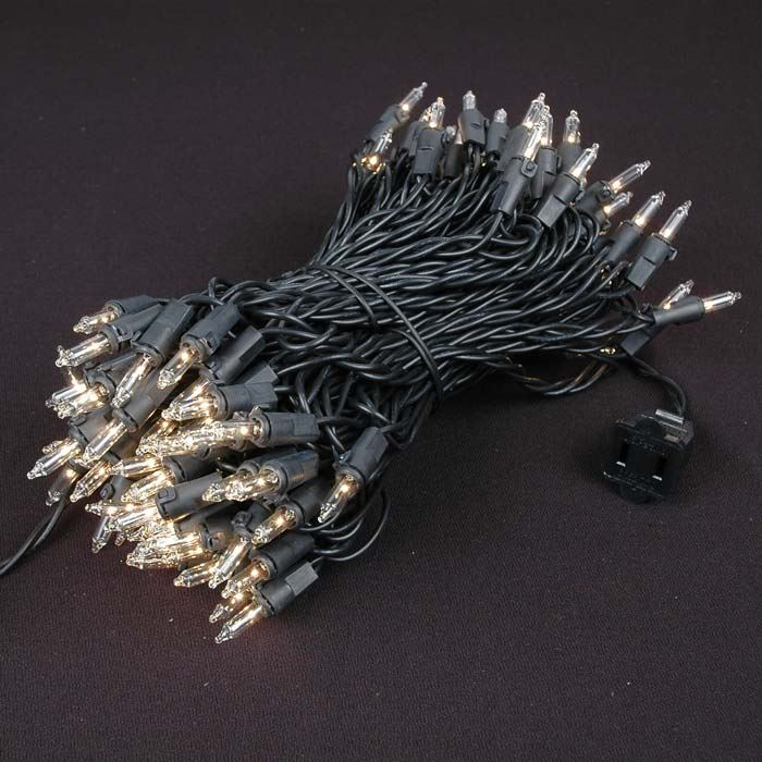 Picture of Black Wire Clear Christmas Mini Lights 100 Light 50 Feet Long