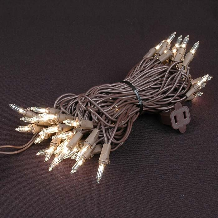 Picture of 50 Light 25' Long Brown Wire Mini Christmas Lights