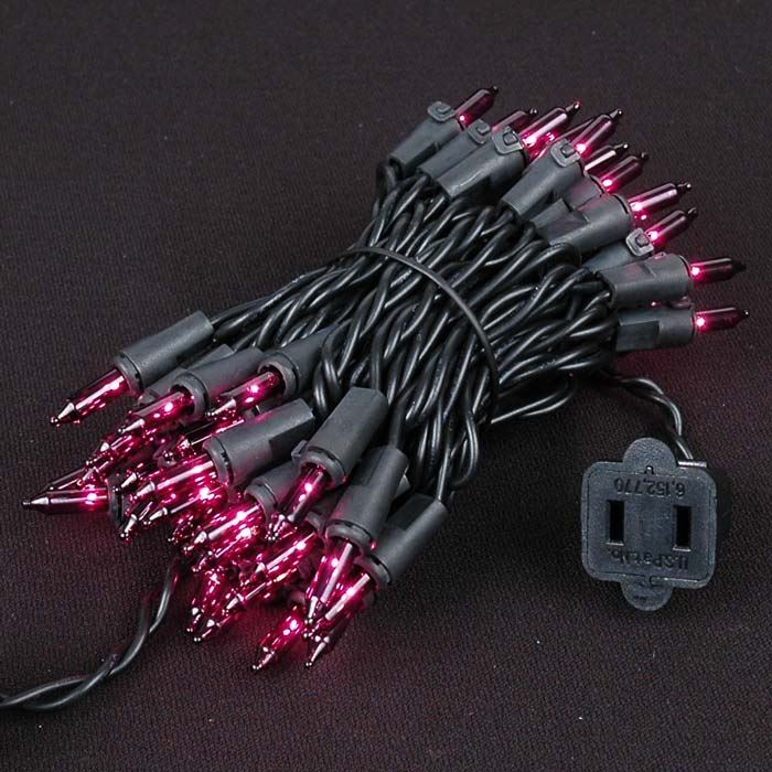 Picture of Black Wire Purple Christmas Mini Lights 50 Light 11 Feet Long