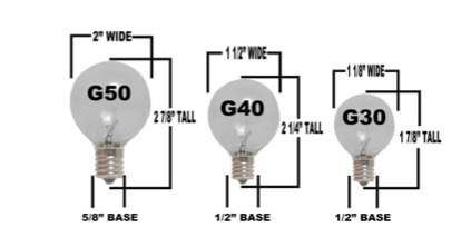 you can change out your globe lights for c7 or c9 christmas lights for the holidays just be sure that you order the correct size for your stringers - Christmas Light Bulb Sizes