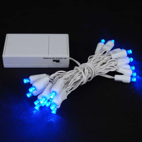Picture of 20 LED Battery Operated Lights Blue White Wire