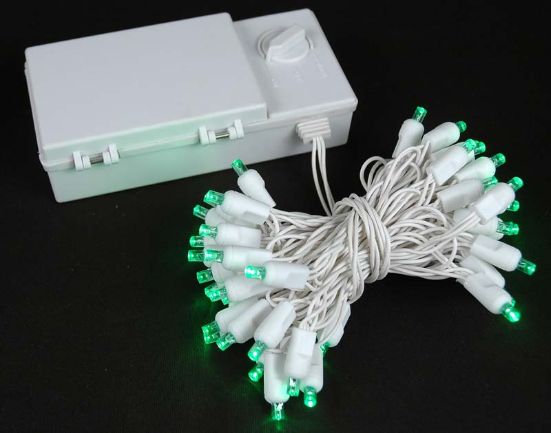 Picture of 50 LED Battery Operated Lights Green on White Wire