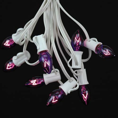 Picture of 25 Light String Set with Purple Transparent C7 Bulbs on White Wire
