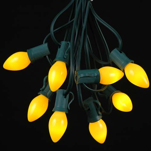 Picture of 25 Light String Set with Yellow Ceramic C7 Bulbs on Green Wire