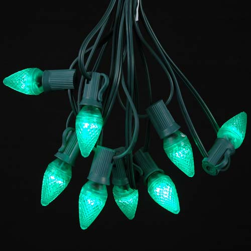 Picture of 25 Light String Set with Green LED C7 Bulbs on Green Wire
