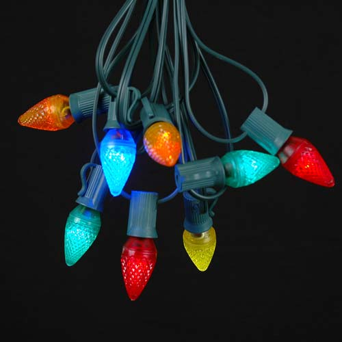 Picture of 25 Light String Set with Multi LED C7 Bulbs on Green Wire