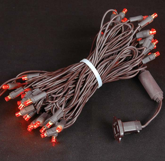 Picture of 50 LED Red LED Christmas Lights on Brown Wire