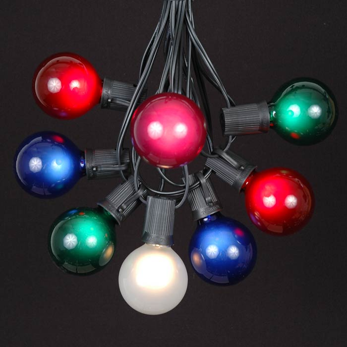 Picture of 25 G50 Globe Light String Set with Assorted Bulbs on Black Wire