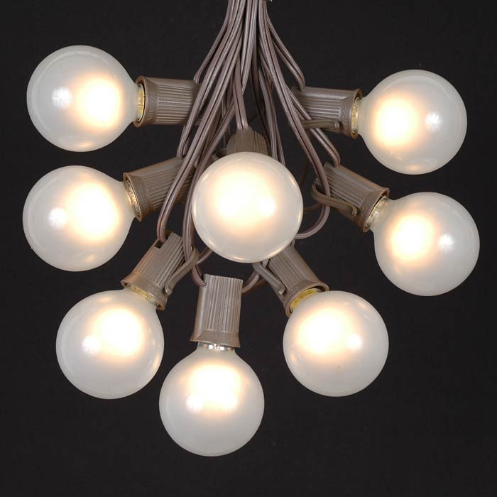 Picture of 25 G50 Globe Light String Set with Frosted Bulbs on Brown Wire