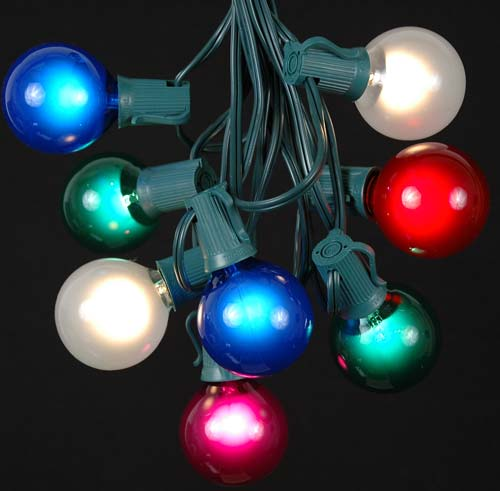 Picture of 25 G50 Globe Light String Set with Assorted Bulbs on Green Wire