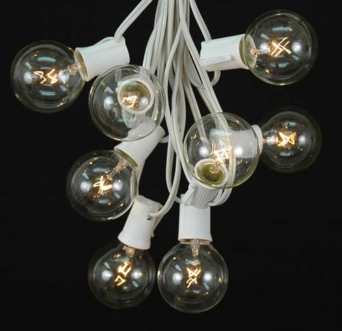 Globe Light String Outdoor Clear g50 globeround outdoor string light set on white wire picture of 25 g50 globe light string set with clear bulbs on white wire workwithnaturefo