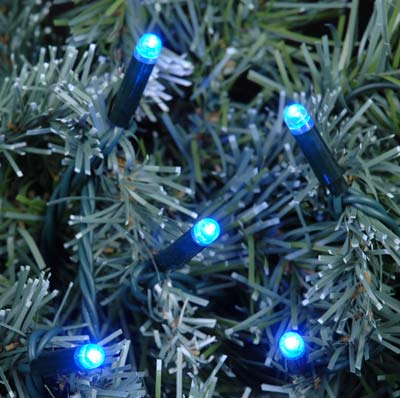 Picture of Blue LED Mini Christmas Lights 50 Bulb