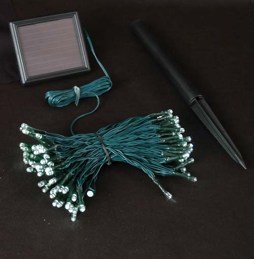 Picture of Warm White LED Solar Powered Lights 100 Light String Green Wire