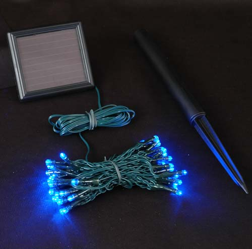 Picture of Blue LED Solar Powered Lights 50 Light String Green Wire