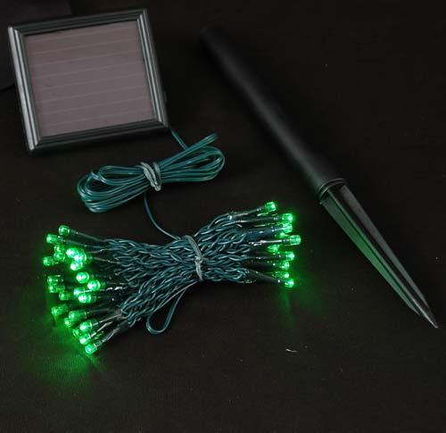 Picture of Green LED Solar Powered Lights 50 Light String - Green LED Christmas Lights - Novelty Lights Inc