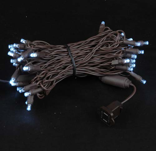 Picture of 50 LED Pure White LED Christmas Lights on Brown Wire