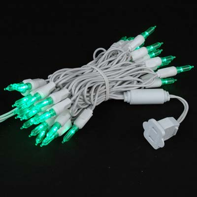 Picture of 35 Light Traditional T5 Green LED Mini Lights White Wire