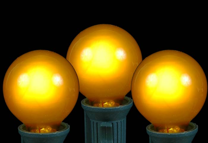 Gold Globe String Lights : Yellow Satin G30 Globe/Round Outdoor String Light Set on Green Wire - Novelty Lights, Inc