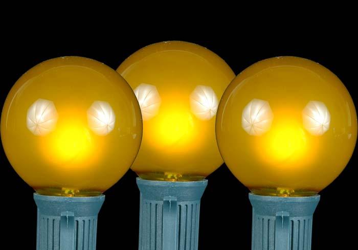 Yellow Gold Satin G50 Globe Round Outdoor String Light