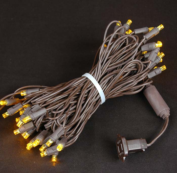 Picture of 50 LED Yellow LED Christmas Lights on Brown Wire