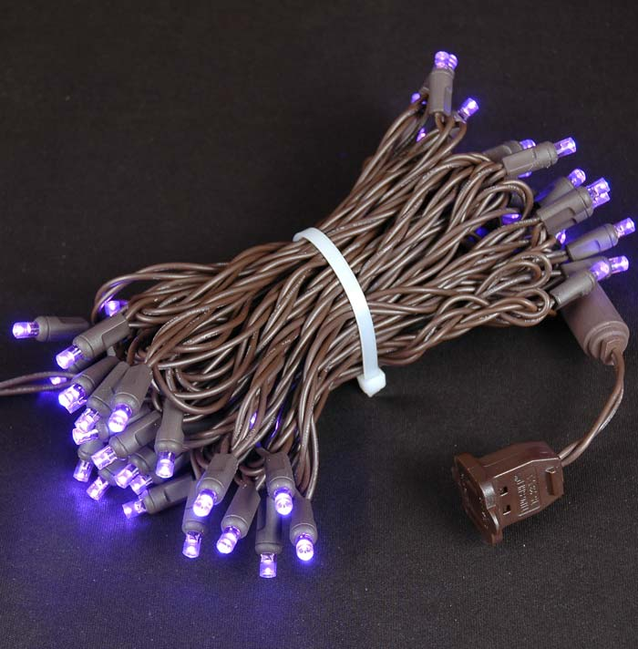 Picture of 50 LED Purple LED Christmas Lights on Brown Wire