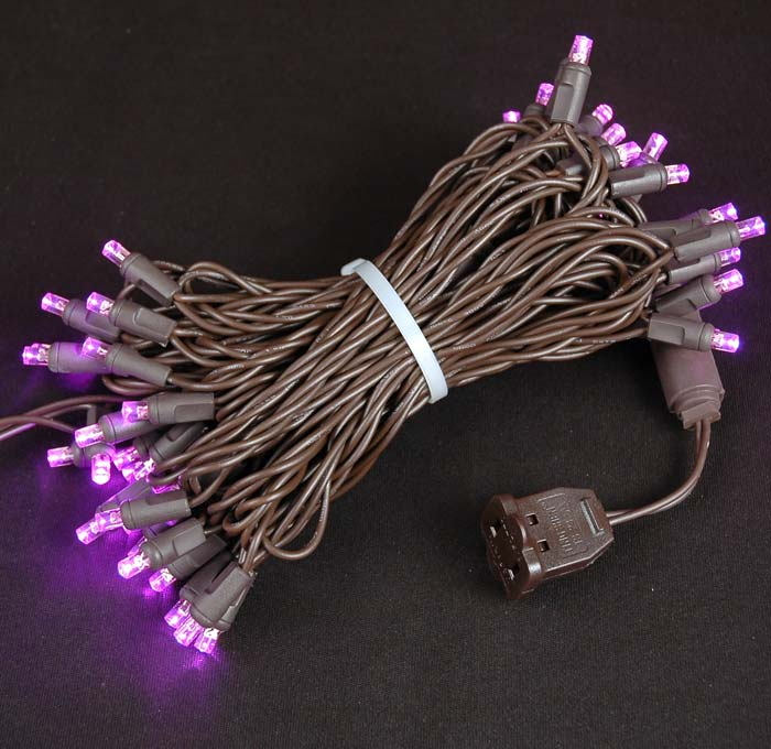 Picture of 50 LED Pink LED Christmas Lights on Brown Wire