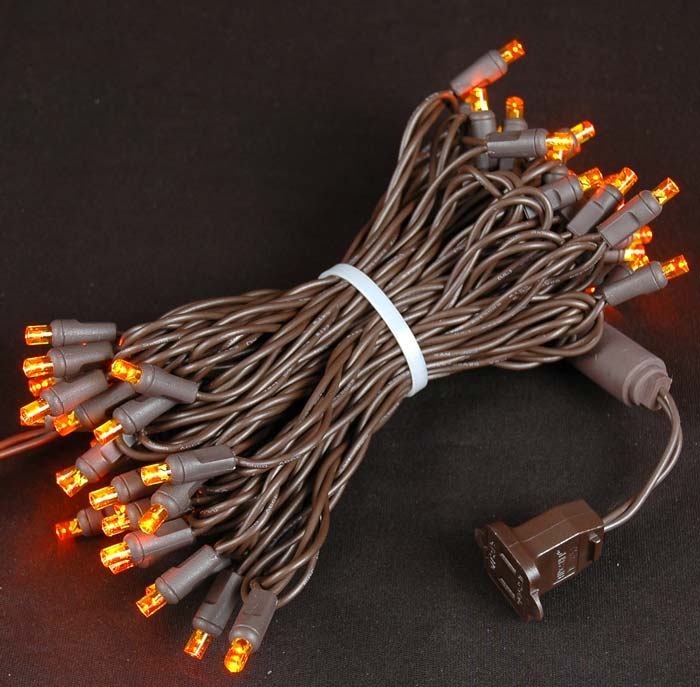 Picture of 50 LED Amber LED Christmas Lights on Brown Wire