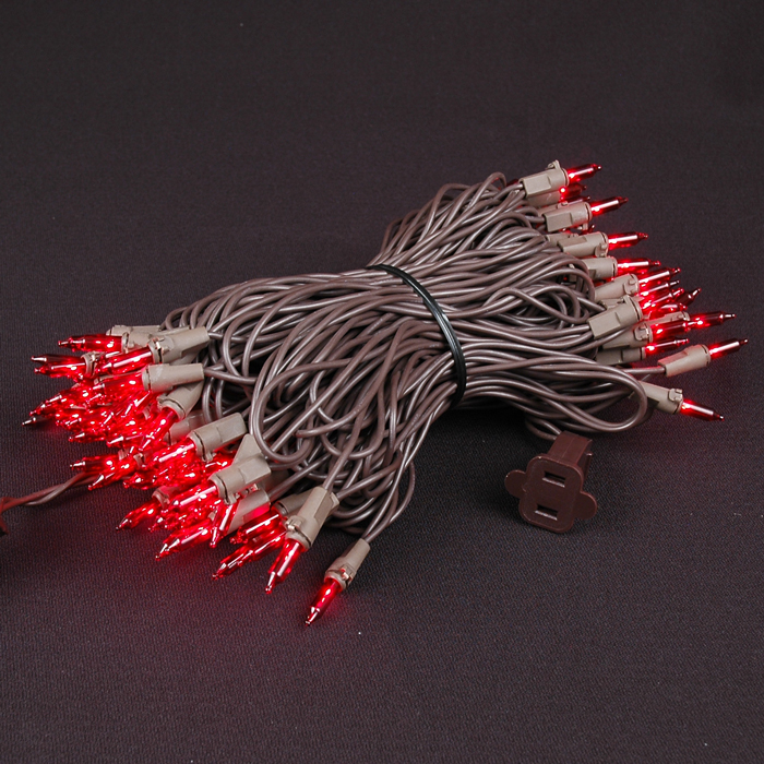 Picture of Brown Wire Red Christmas Mini Lights 100 Light 50 Feet Long