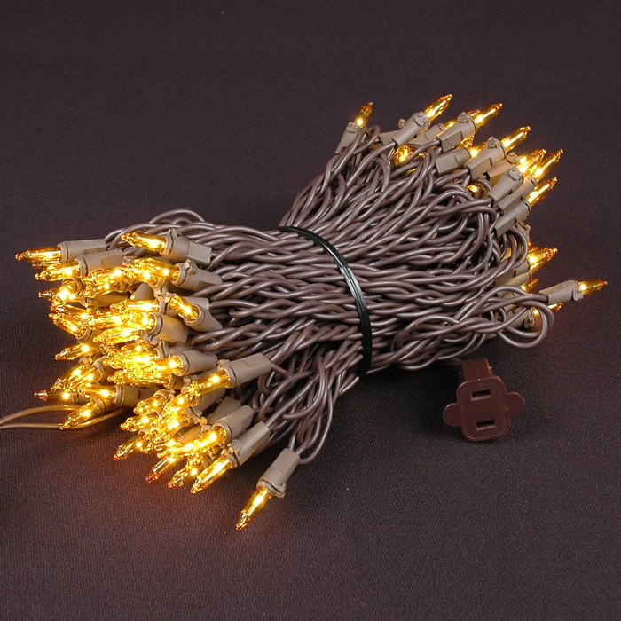 Picture of Brown Wire Yellow Christmas Mini Lights 100 Light 50 Feet Long