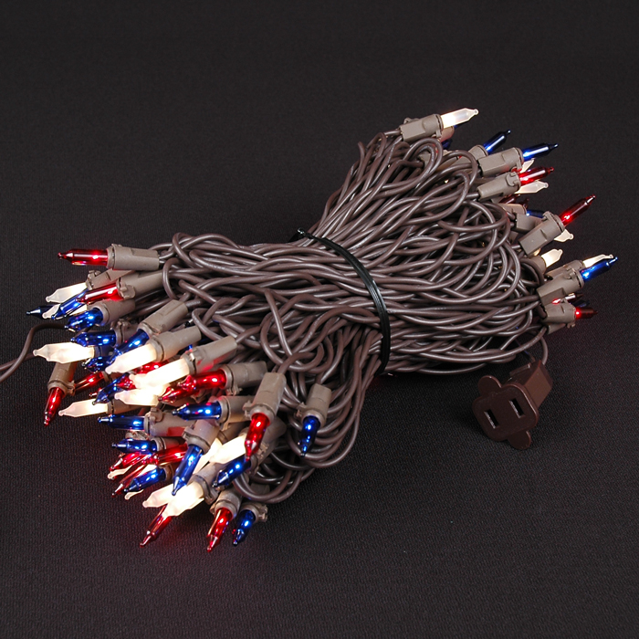 Picture of Brown Wire Red/White/Blue Christmas Mini Lights 100 Light 50 Feet Long