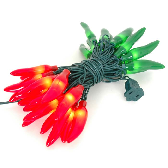 Green Holiday String Lights : Red and Green Chili Pepper Light Strings with 35 Lighted Peppers - Novelty Lights Inc