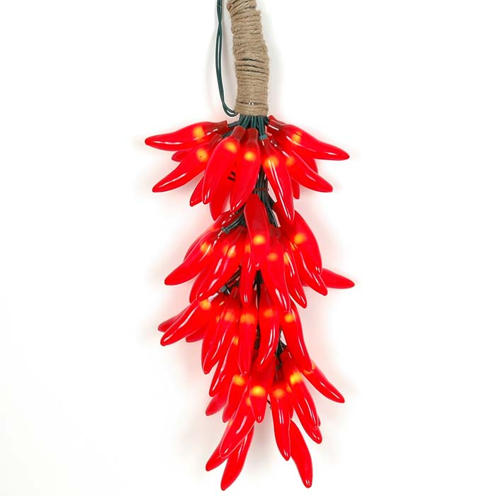 Picture of Red Chili Pepper Cluster Ristras 50 light **On Sale