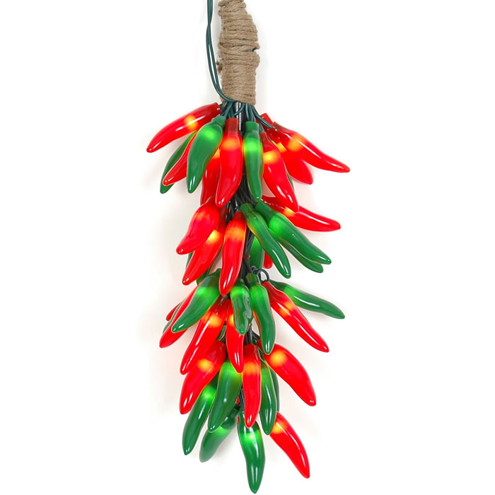 Picture of Red and Green Chili Pepper Cluster Ristras 50 light