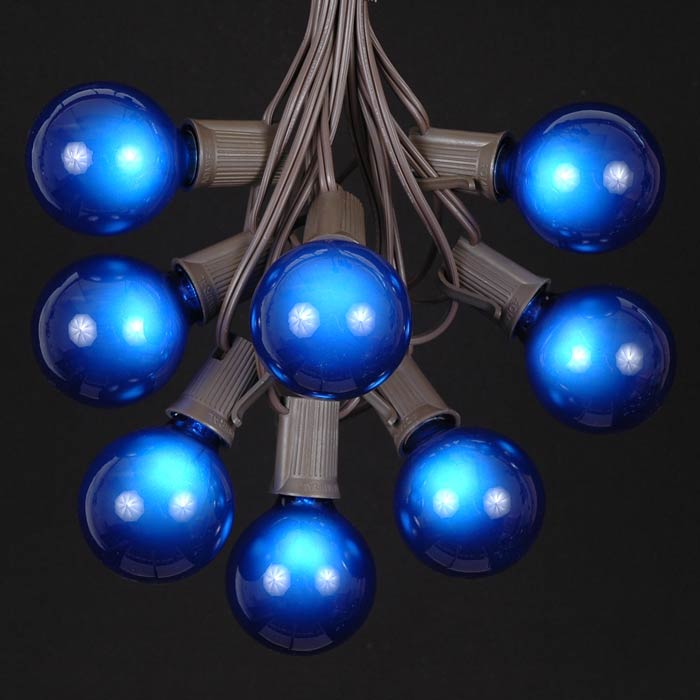 picture of 100 g50 globe light string set with blue bulbs on brown wire
