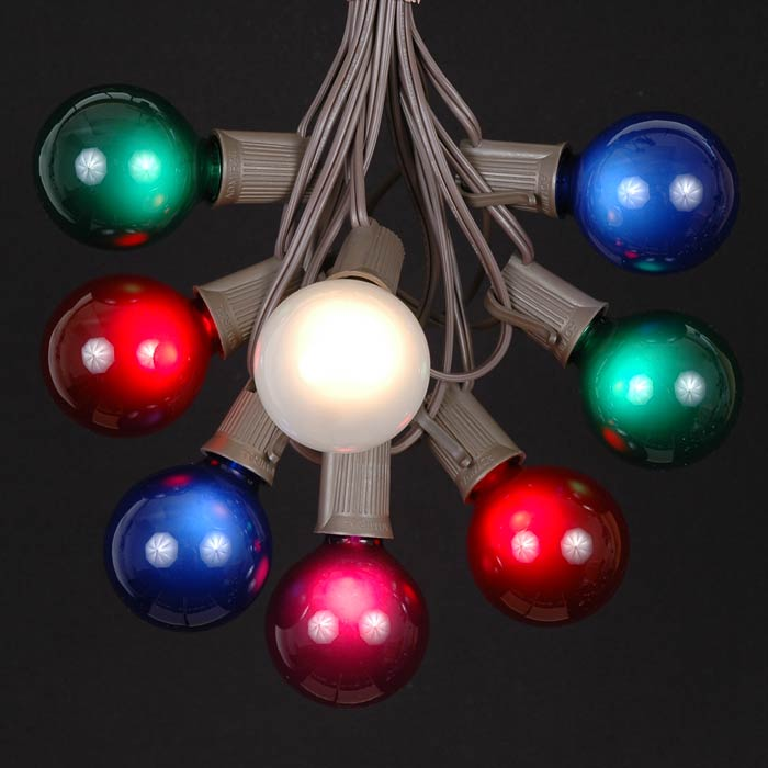 ... Picture of 100 G50 Globe Light String Set with Assorted Satin Bulbs on  Brown Wire - 100 Multi Colored G50 Globe String Light Set On Brown Wire - Novelty