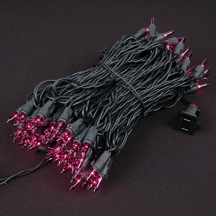 Purple Christmas Mini Lights Set 100 Light Black Wire 50 Feet ...