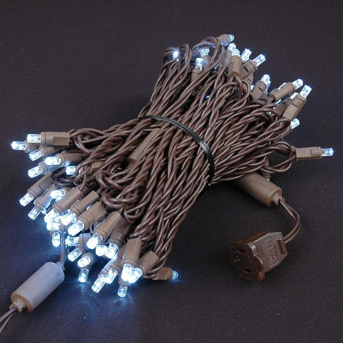 Brown Wire Wide Angle Pure White 100 Bulb LED Lights Sets - Novelty ...