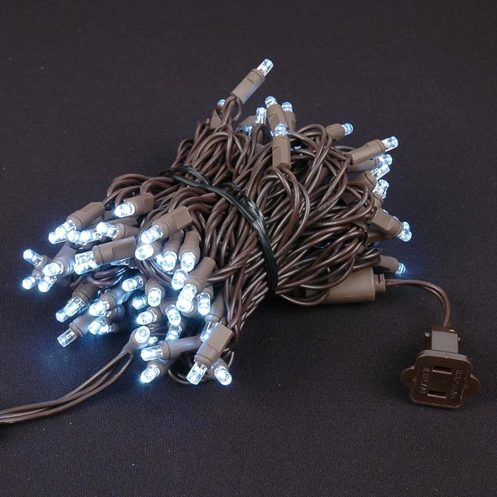 Brown Wire Wide Angle Pure White 100 Bulb LED Lights Sets - Novelty Lights Inc
