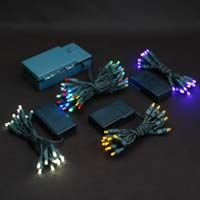 Battery Powered LED String Lights On Green Wire