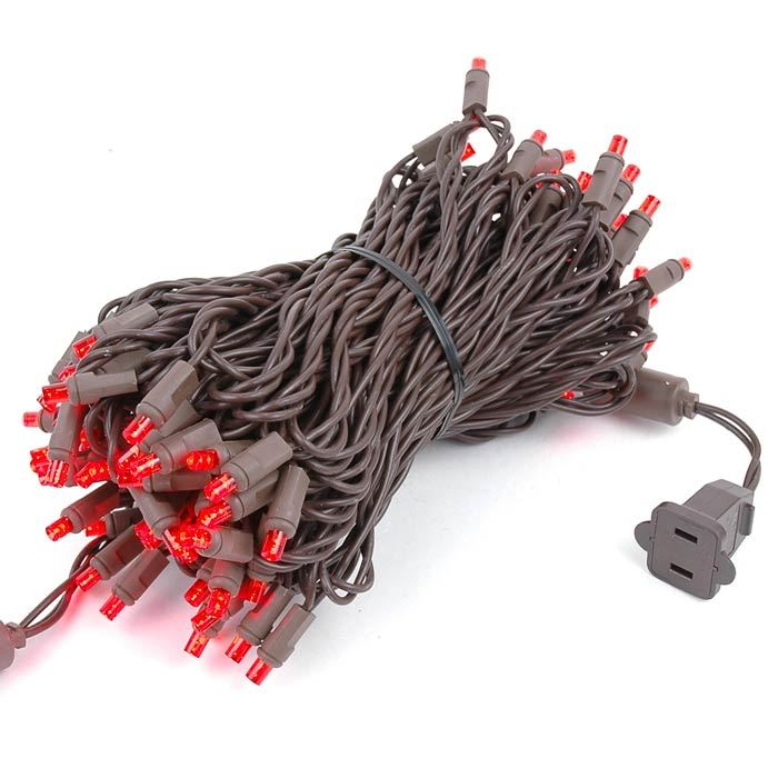 Brown Wire Wide Angle Red 100 Bulb LED Lights Sets 50\' - Novelty ...