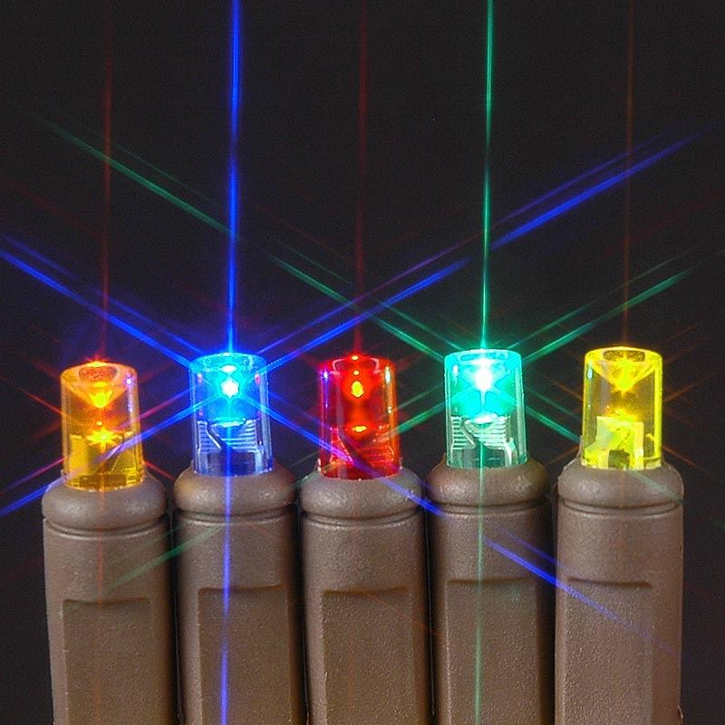 picture of 50 led multi led christmas lights on brown wire - Brown Wire Christmas Lights